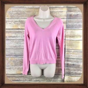 Zara Light Pink Knit V Neck Sweater Size Medium